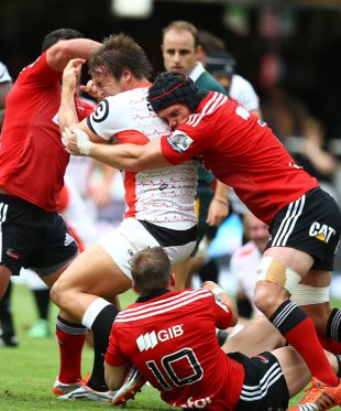 Andre Esterhuizen is taken down by the Crusaders' defence, Sharks v Crusaders, Super Rugby, Growthpoint Kings Park, March 4, 2015