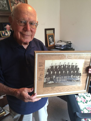 Australia's oldest living Wallaby, Eric Tweedale, shows off his 1946 NZ tour photo, March 28, 2015