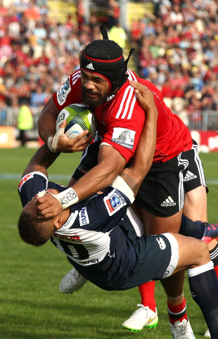 The Crusaders' Jordan Taufua crashes into the Lions' Elton Jantjies, Crusaders v Lions, Super Rugby, AMI Stadium, Christchurch, on March 14, 2015