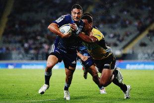 The Blues' Dan Bowden attacks the defensive line, Blues v Brumbies, Auckland, April 10, 2015