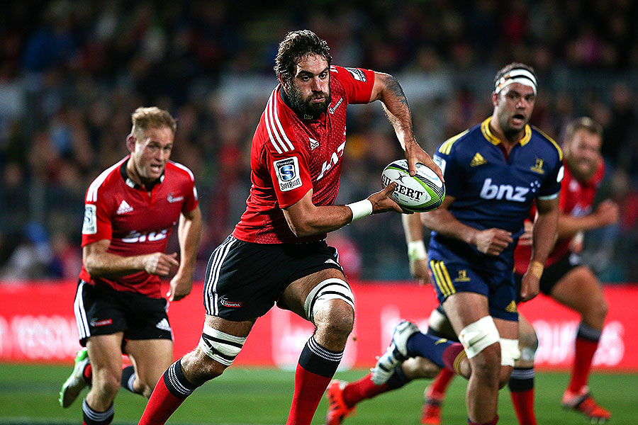 The Crusaders' Sam Whitelock looks for a pass