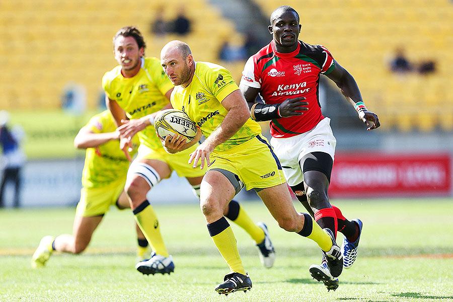Australia's James Stannard moves clear at the Wellington Sevens