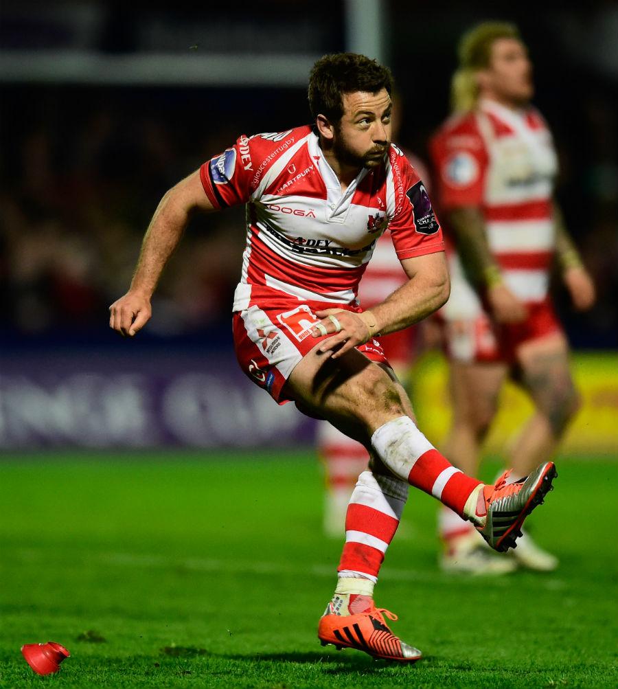 Greig Laidlaw of Gloucester kicks at goal