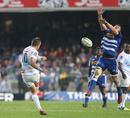 The Stormers' Duane Vermeulen charges down Handre Pollard's drop kick