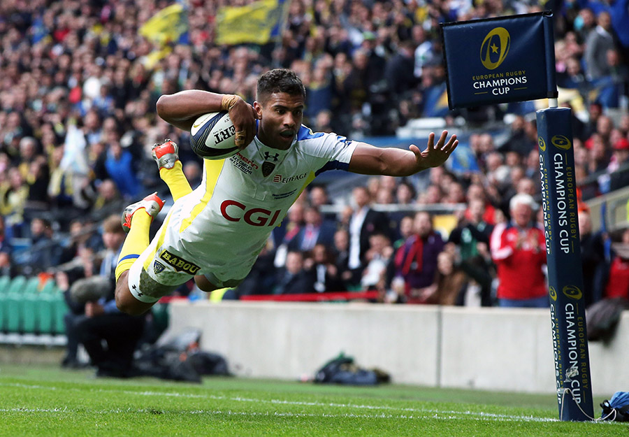 Wesley Fofana flies over the line for the first try of the Champions Cup final