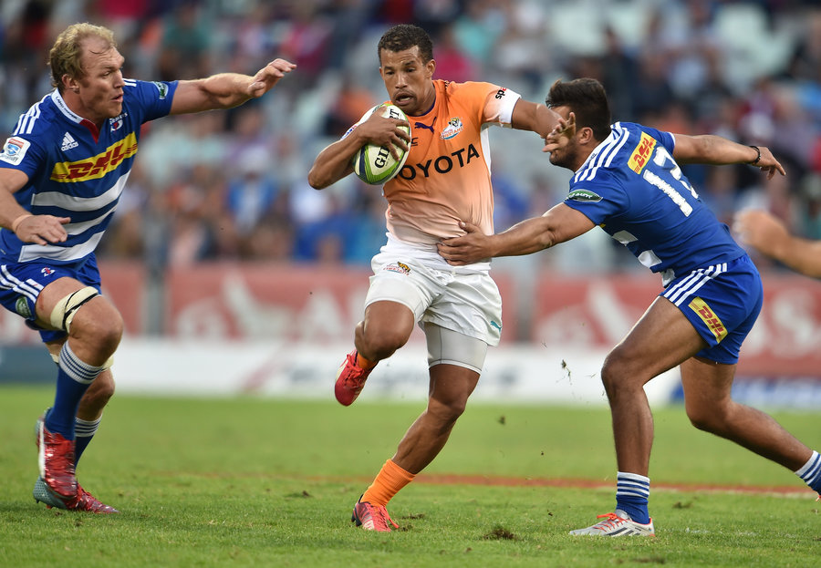 Clayton Blommetjies of the Cheetahs takes on the Stormers defence