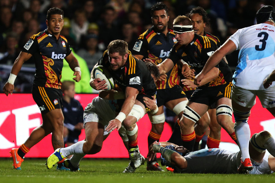 Johan Bardoul of the Chiefs is tackled