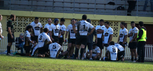 Penrith players huddle together after another huge loss, Gordon v Penrith, Shute Shield, Chatswood, Sydney, May 23, 2015
