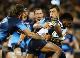 Henry Speight of the Brumbies is tackled, Brumbies v Bulls, Super Rugby, GIO Stadium, Canberra, May 29, 2015