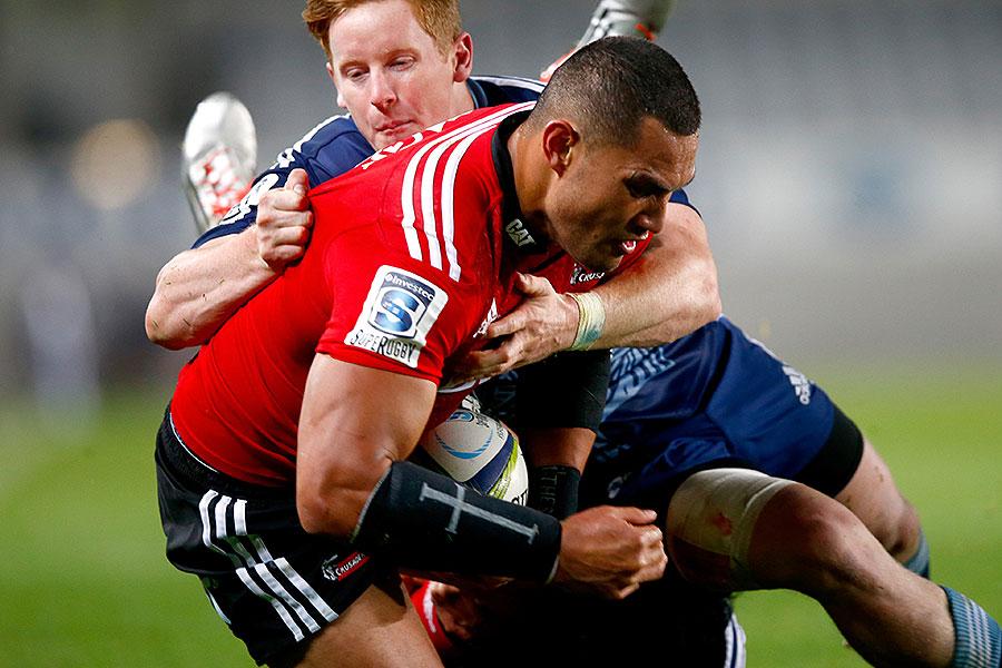 The Crusaders' Robbie Fruean is tackled