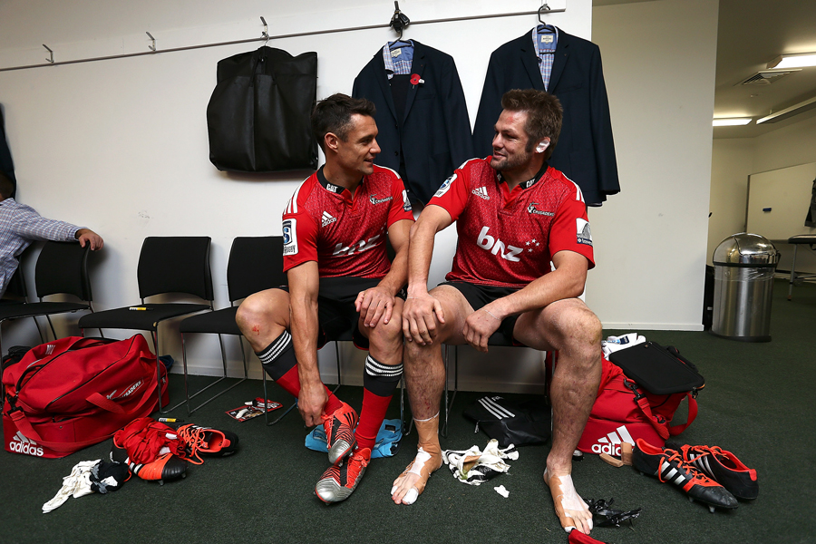 The Crusaders' Dan Carter and Richie McCaw pose for a photo