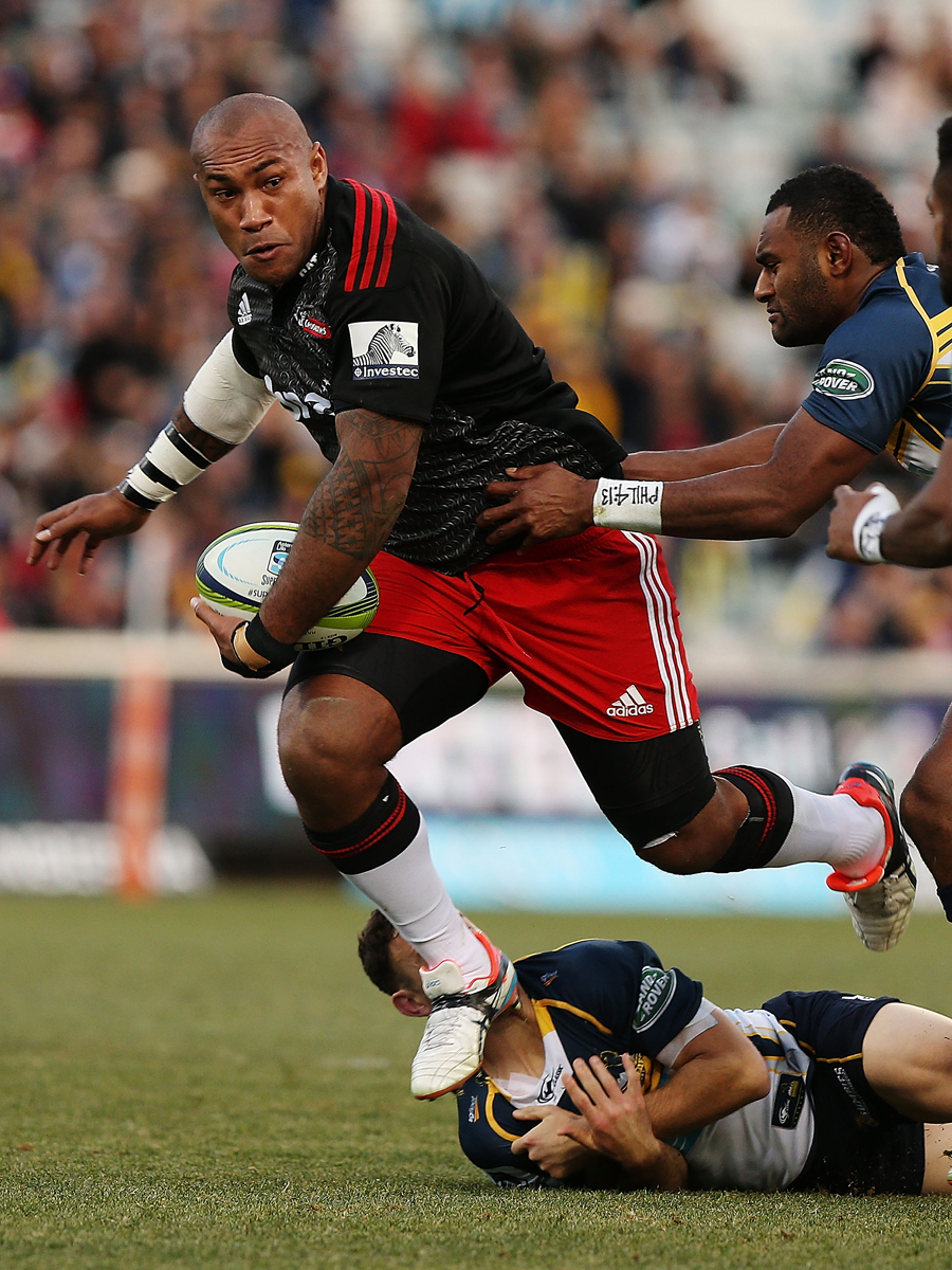 The Crusaders' Nemani Nadolo powers through the Brumbies' defence