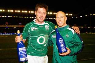 Ronan O'Gara of Ireland poses with his Record Championship Points Scorers Award and Peter Stringer with his Man of the Match Award  the RBS Six Nations Championship match between Scotland and Ireland.