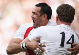 England centre Riki Flutey is congratulated by Mark Cueto after scoring a try, England v France, Six Nations Championship, Twickenham, England, March 15, 2009