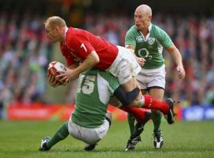 Wales' Martyn Williams looks to offload as he is tackled, Wales v Ireland, Six Nations Championship, Millennium Stadium, Cardiff, Wales, February 4, 2007