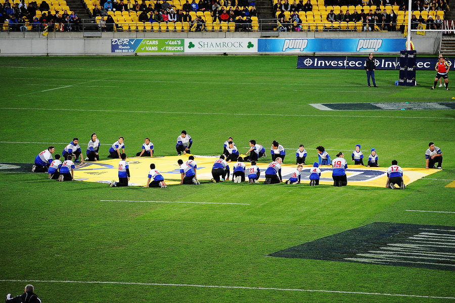 A large jersey is laid out in honour of Jerry Collins before the Super Rugby Semi Final