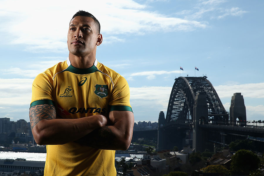 Australia's Israel Folau poses for a picture near Sydney harbour