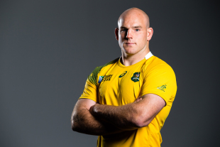 Stephen Moore showcases the Wallabies' Rugby World Cup 2015 jersey, Allianz Stadium, Sydney, June 10, 2015