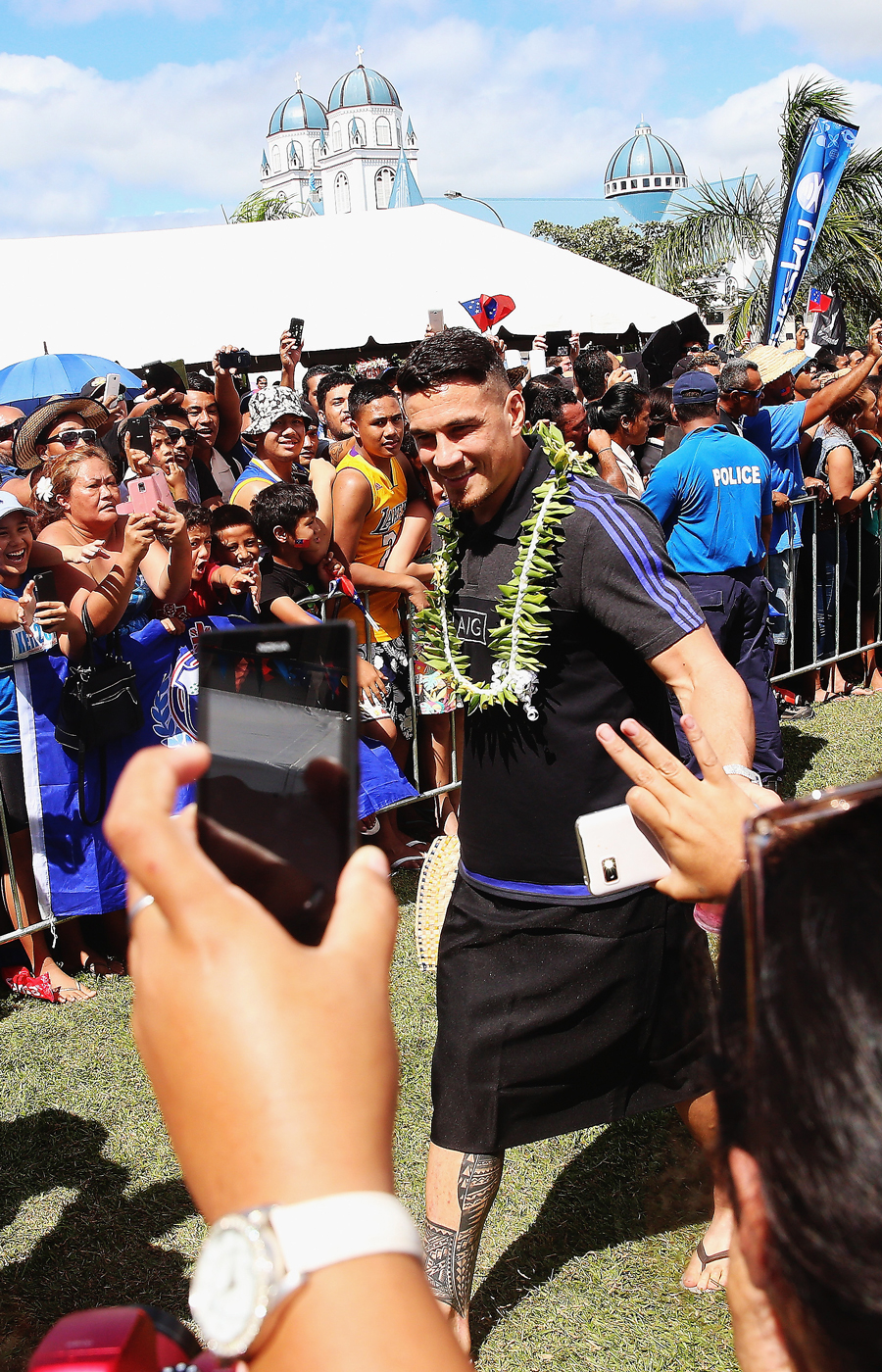 New Zealand's Sonny Bill Williams is welcomed by fans