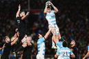 Argentina's Juan Manuel Leguizamon wins a lineout