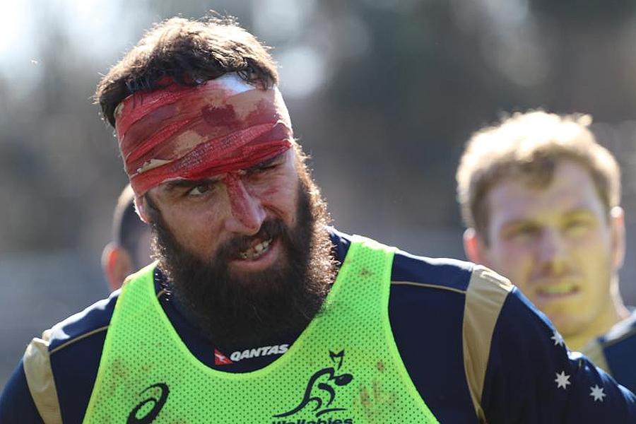 Scott Fardy sports the spoils of war in training
