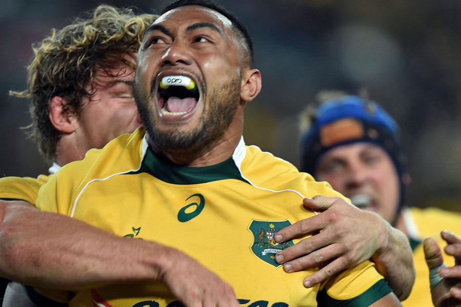Australia's Sekope Kepu  celebrates his first Test try