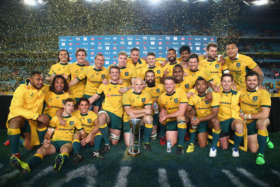 Australia show off the Rugby Championship trophy