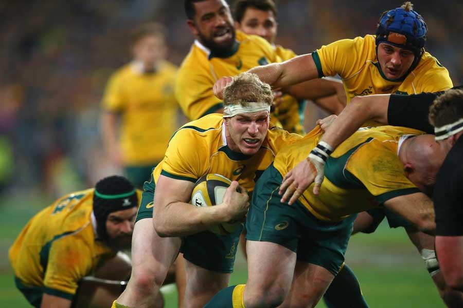 Australia's David Pocock controls the ball at the back of a maul
