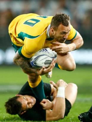New Zealand's Dan Carter tackles Quade Cooper, New Zealand v Australia, Bledisloe Cup, Eden Park, Auckland, August 15, 2015