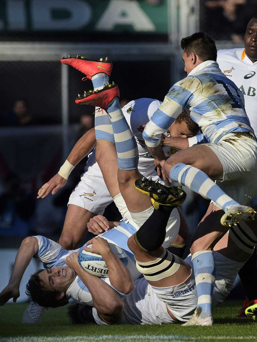 Argentina's Santiago Cordero is upended by Lwazi Mvovo