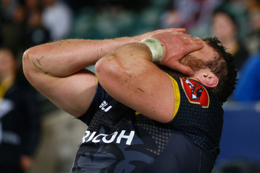 Wellington's Jeremy Thrush couldn't hide the pain after coming off injured