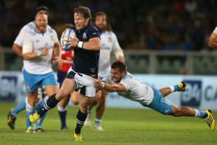 Scotland's Peter Horne runs with the ball, Italy v Scotland, Olympic Stadium, Turin, August 22, 2015