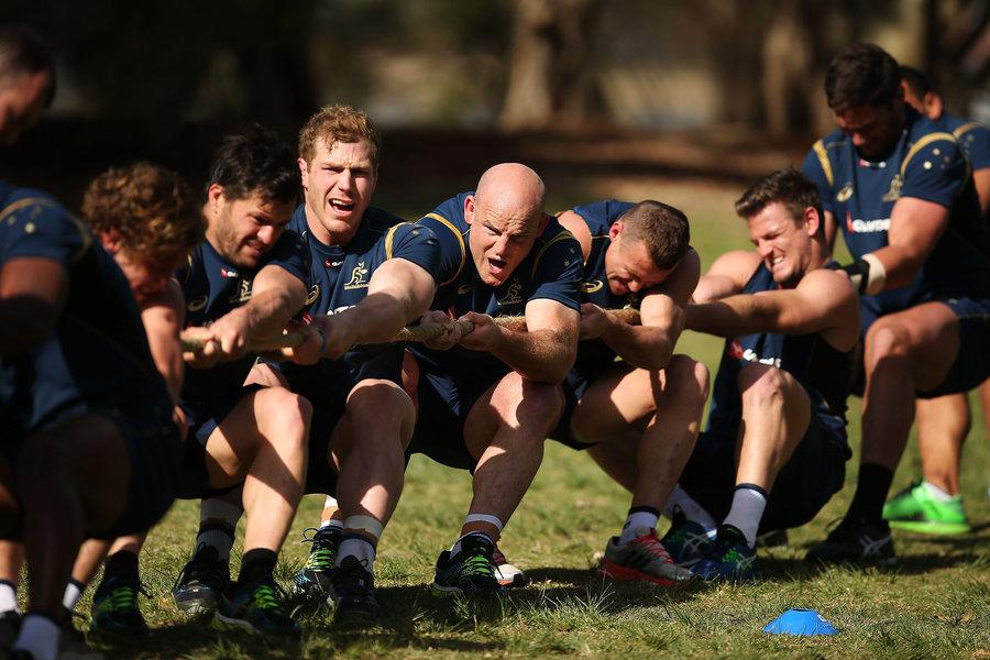 Wallabies players contest a 'tug of war' during an Australian Wallabies training session