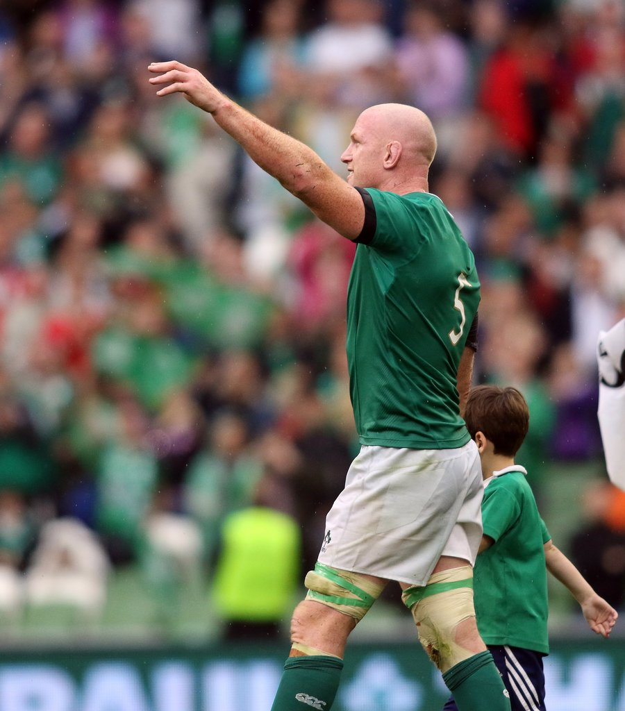 Ireland's lock Paul O'Connell farewells his fans in his last match at Dublin