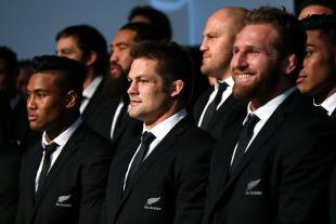 Julian Savea, Richie McCaw and Kieran Read look on during the All Blacks squad announcement. Wellington, August 30, 2015