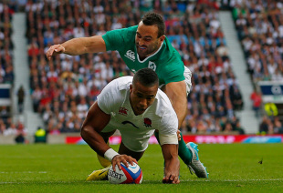 LONDON, ENGLAND - SEPTEMBER 05:  Anthony Watson of England goes over to score a try during the QBE International match between England and Ireland at Twickenham Stadium on September 5, 2015 in London, England.  (Photo by Mike Hewitt/Getty Images)