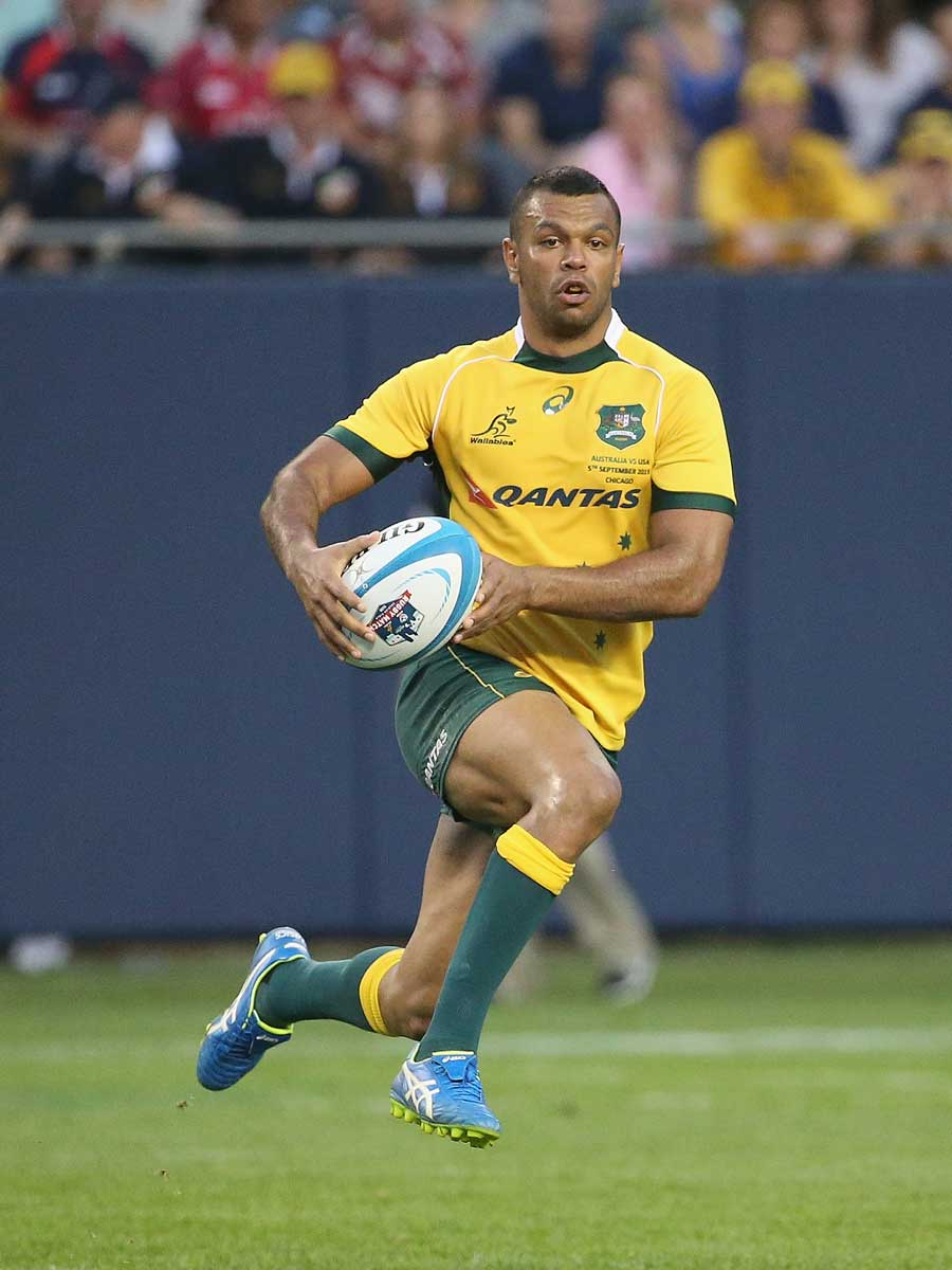 Australia's Kurtley Beale shows some footwork