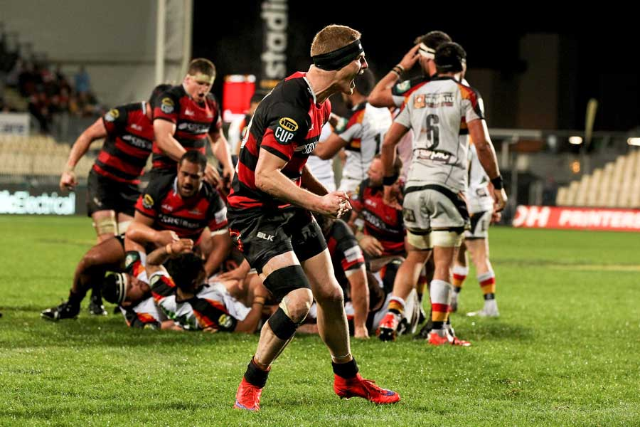 Canterbury's Johnny McNicholl shows his delight