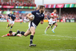 GLOUCESTER, ENGLAND - SEPTEMBER 23: Tommy Seymour of Scotland goes over to score his teams third try during the 2015 Rugby World Cup Pool B match between Scotland and Japan at Kingsholm Stadium on September 23, 2015 in Gloucester, United Kingdom.  (Photo by Ben Hoskins/Getty Images)