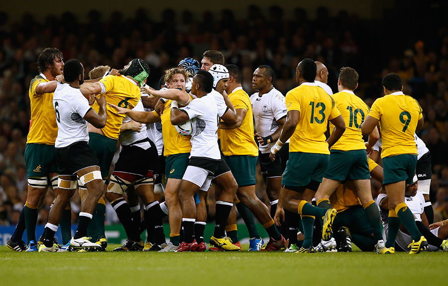 A scuffle breaks out between Australia and Fiji players