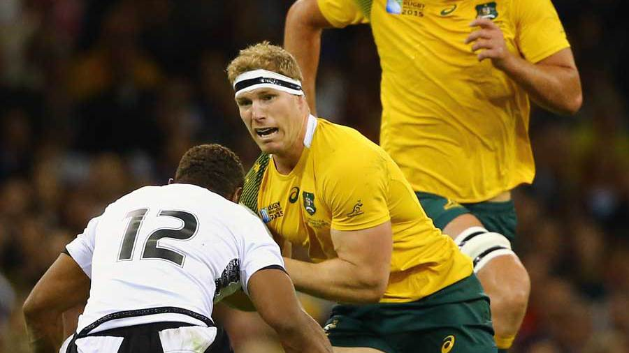 Australia's David Pocock takes on Gabiriele Lovobalavu, Australia v Fiji, Rugby World Cup, Millennium Stadium, Cardiff, September 23, 2015