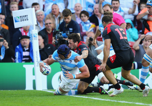 GLOUCESTER, ENGLAND - SEPTEMBER 25:  Tomas Lavanini of Argentina scores the opening try during the 2015 Rugby World Cup Pool C match between Argentina and Georgia at Kingsholm Stadium on September 25, 2015 in Gloucester, United Kingdom.  (Photo by Richard Heathcote - World Rugby/World Rugby via Getty Images)