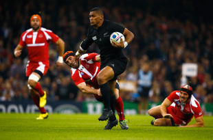 CARDIFF, WALES - OCTOBER 02:  Waisake Naholo of the New Zealand All Blacks breaks to score the opening try during the 2015 Rugby World Cup Pool C match between New Zealand and Georgia at the Millennium Stadium on October 2, 2015 in Cardiff, United Kingdom.  (Photo by Laurence Griffiths/Getty Images)