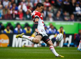 Japan's Ayumu Goromaru clears the ball, Samoa v Japan, Rugby World Cup, Stadium mk, Milton Keynes, October 3, 2015