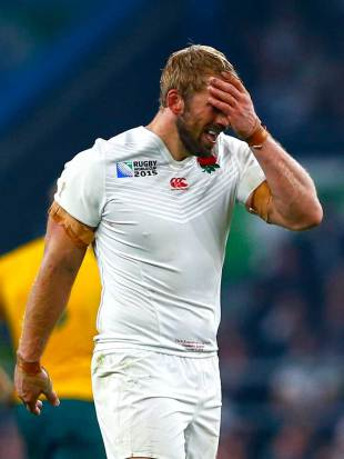 Chris Robshaw reacts after England's defeat by the Wallabies, England v Australia, Rugby World Cup, Twickenham Stadium, London, October 3, 2015