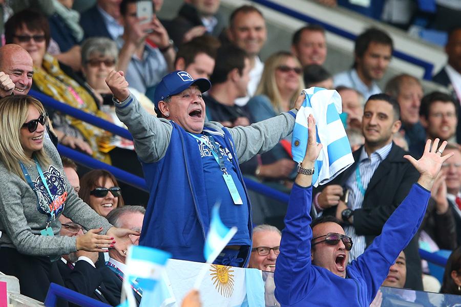Argentina football legend Diego Maradona celebrates a try