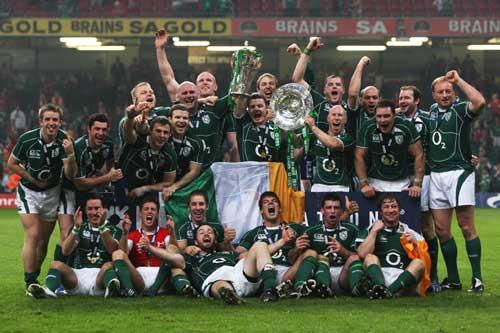 The Ireland squad celebrate their Grand Slam success