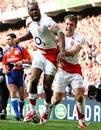 England's Ugo Monye celebrates with team mate Mark Cueto