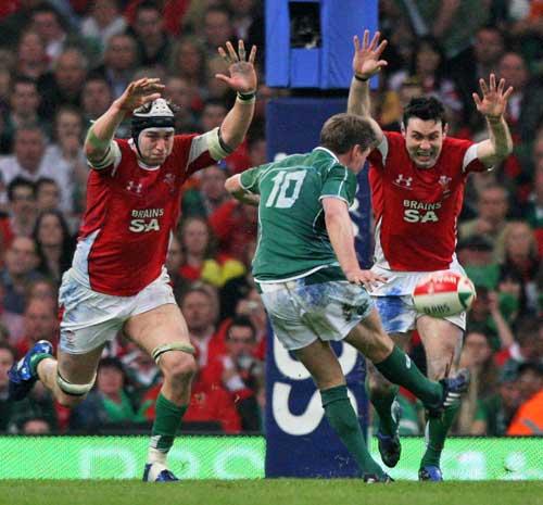 Ireland fly-half Ronan O'Gara kicks a Grand Slam winning drop goal against Wales, Wales v Ireland, Six Nations Championship, Millennium Stadium, Cardiff, Wales, March 21, 2009
