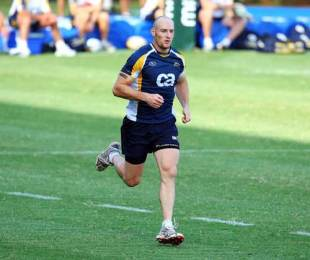 The Brumbies' Stirling Mortlock takes part in a training session, Glenwood High School, Durban, South Africa, March 23, 2009